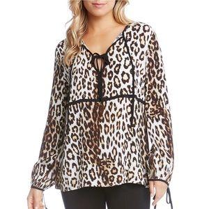 NWT - Karen Kane Animal Print Blouse - Size XL